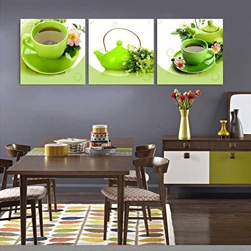 WADPJ Modern stilleven canvas schilderij groene theepot schilderij woonkamer keuken wandschilderijen Home Decor-50x50cmx3 stuks geen lijst