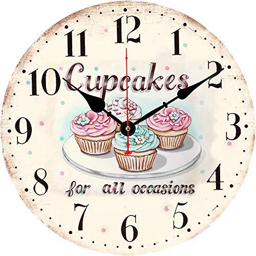 BERYART Reloj de pared silencioso sin tictac, movimiento de cuarzo de 14 pulgadas, reloj de pared de madera, decorativo para cocina, sala de estar, comedor, dormitorio, oficina (reloj de cupcakes)