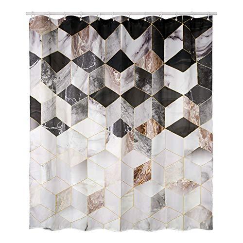 HomeyMosaic Duschvorhang Duschvorhänge Anti-Schimmel, Wasserdicht, Textil-Vorhang Waschbar Badvorhang Polyester Stoff mit 12 Duschvorhangringen Geometriemuster, 180x200cm