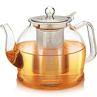Teabloom Dublin Glass Teapot – Fine Borosilicate Glass – Stovetop and Microwave Safe – Removable Stainless Infuser – Ideal for Loose Leaf Tea – Large Capacity – 40 oz. / 1200 ml (4-5 Cups)