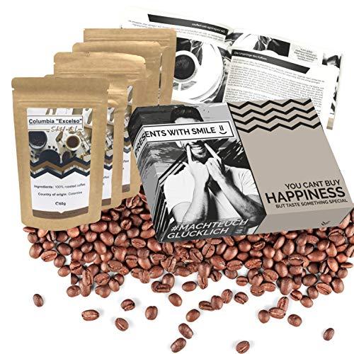 Tipi di caffè da tutto il mondo in una confezione da degustazione o come confezione regalo per gli amanti del caffè I Viaggio in tutto il mondo in una confezione regalo, 5 chicchi di caffè deliziosi e