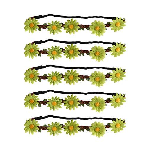 VALICLUD 5 Pezzi Donne Ragazze Delicato Boemia Floreale Fascia Fascia per Capelli Hawaiano Multicolore con Nastro Elastico Margherita Hippie Ghirlanda Copricapo da Sposa