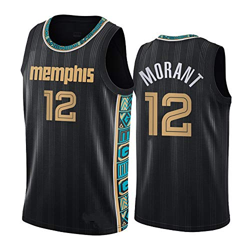 Camiseta NBA para Hombre De Baloncesto, Camisetas De Memphis Grizzlies 12# Ja Morant, Camisetas Deportivas Sin Mangas Bordada De Nueva Temporada Unisex para Fanáticos,Negro,XXL