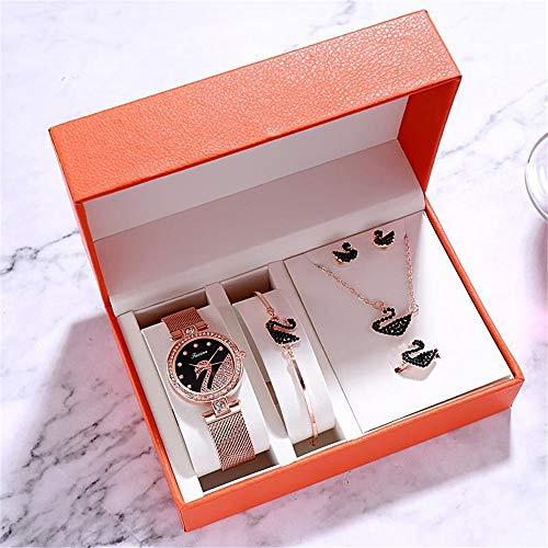 YIBOKANG Five-piece Set, Chinese, Ring Earrings, Pendant, Bracelet Set, Stylish Temperament Little Swan Waterproof Quartz Watch (Color : 3)