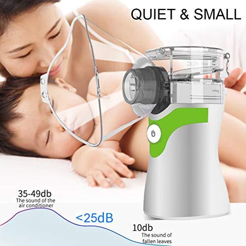 ACOOME Nebulizzatore portatile a rete silenziosa aerosol per bambini e adulti con boccaglio e maschere, inalatore elettrico, doppia alimentazione (usb + batteria)