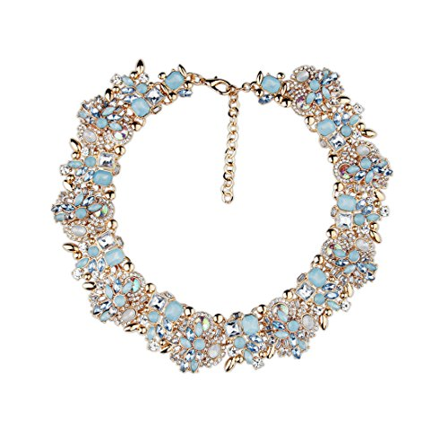 Fancy Love - Collana girocollo da donna con pietre colorate e strass - lussuosa, alla moda, elegante, stile retrò, vintage - affascinante ed esclusiva e Lega, colore: Blue, cod. NF007-Blue
