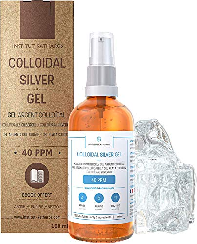Pure Colloidal Silver Gel 40 PPM • 100% Natural and only 3 Ingredients • Optimal Texture and Absorption (Better Than Creams) • Amber Glass and Ultra-Practical Pump • Ebook Included • Institut Katharos