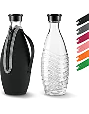 Siegvoll Skyddshölje för SodaStream Crystal glaskaraff 0,615 L   Brottskydd neoprenfodral för SodaStream Crystal glasflaska med sval effekt   Perfekt tillbehör för resor svart (utan flaska)