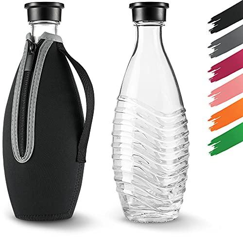 Siegvoll Schutzhülle für SodaStream Crystal Glaskaraffe 0,615 L | Bruchschutz Neopren Hülle für SodaStream Crystal Glasflasche mit Kühleffekt | Ideales Zubehör für unterwegs Schwarz (ohne Flasche)