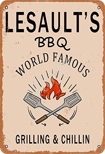 Keely Lesault'S BBQ World Famous Grilling & Chillin Decorazione da Parete in Metallo Vintage con targhetta in Metallo 12x8 Pollici per Bar, ristoranti, Pub, Uomo, Grotta Decorativa