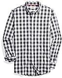 Amazon Brand - Goodthreads Men's Slim-Fit Long-Sleeve Gingham Plaid Poplin Shirt, White/Grey, X-Large