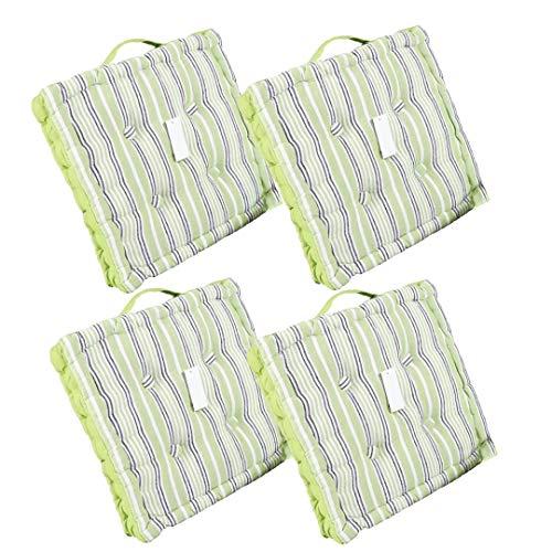 LEYENDAS Set de 4 Cojines, Cojines para Silla de 40 x 40 x 8 cm para Interior y Exterior de 100% algodón cojín Acolchado/cojín para el Suelo (Rayas/Verde, 4)