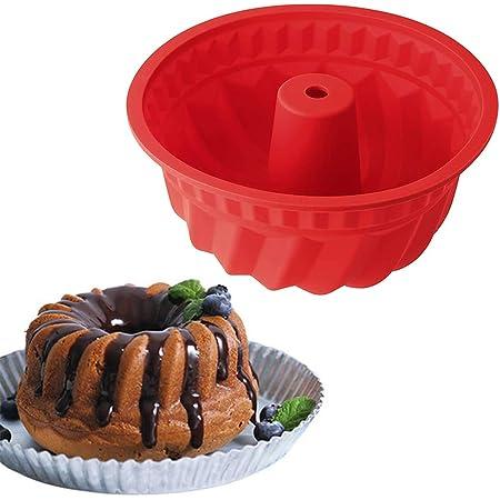 Xinlie Molde Redondo para Savarin de Silicona Molde para Budnt Cake Molde Bizcocho Savarín Molde Savarín Original Molde para Cocina de Silicona para ...