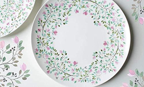 DJY-JY Platos de cerámica de 25,4 cm platos redondos de porcelana de dibujos animados con diseño de elefante esmaltado con jirafa floral
