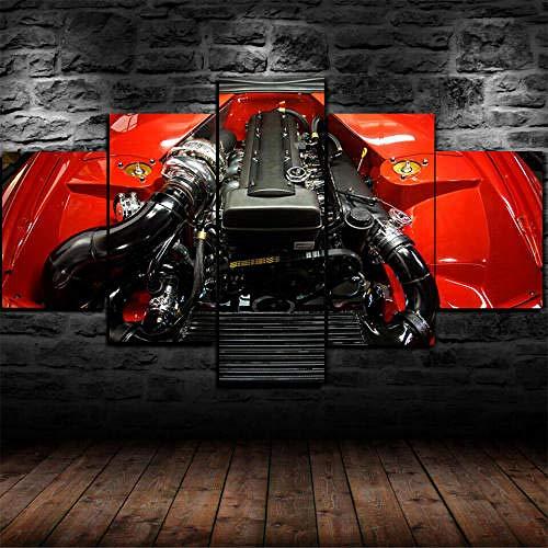 13Tdfc Stampa su Tela Motore Toyo Supra 2Jz-GTE con Cornice Immagine Arte Parete 5 Pezzi Quadri Moderni Dipinti Foto Soggiorno Camera Letto Divano TV Sfondo Gym Home Decor