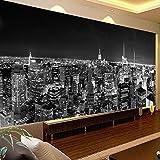 3D Murales Papel Pintado Pared Calcomanías Decoraciones Ciudad De Nueva York, Noche En Blanco Y Negro, Construcción De Sala De Estar Art º Chicas Cocina (W)400X(H)280Cm