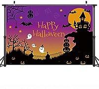 新しい7X5ftハロウィンの背景ウォールドロップハロウィンナイトムーン写真の背景布スタジオの背景城ゴーストプーキンランタンフェスティバル写真の背景YouTubeビデオ撮影の背景