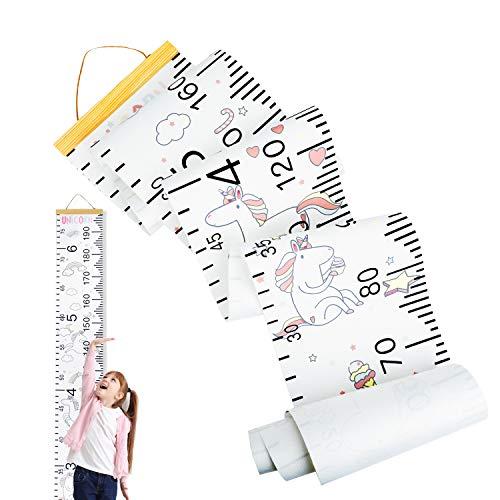 HIFOT medidor altura niños pared unicornio, Gráficos de crecimiento infantil metros de medir regla, unicorn Decoración de habitación niña bebé Tabla de crecimiento 20 x 200 cm