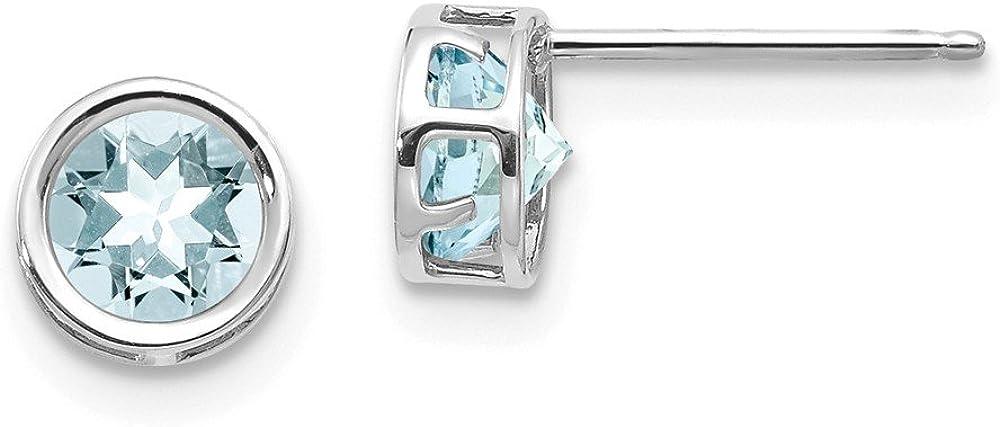 Solid 14k White Gold 5mm Bezel Aquamarine Blue March Gemstone Stud Earrings 5mm