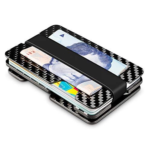 Geldbörsen Brieftasche Kohlefaser Brieftasche Männer Multifunktions-Portemonnaie Licht Karte Paket Mini große Kapazität Schlüssel Speichergerät Damen-Geldbörsen ( Color : Black , Size : 9.2*5.8*1.1 )