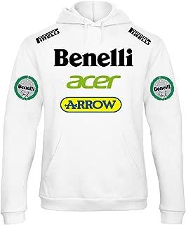 REITANO GROUP Felpa con Cappuccio Stile Benelli Moto Uomo Auto Rally Racing Corse Nera MAX34