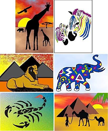 6er Klebefolien - Sandbilder GROßPACK, 15x20cm, inkl. 19 x Sand je 50g und Zubehör, 637, 638, 410, 413, 443, 444 - Weitere Bastelsets erhältlich