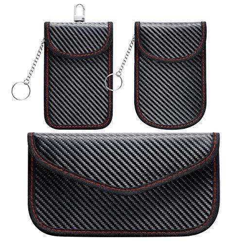 Homealexa Keyless Go Schutz Autoschlüssel Tasche 3 STK, RFID Blocker Keyless Faraday-Tasche Schutztaschen für Handy, Auto-, Funkschlüssel Abschirmung Diebstahlschutz Strahlenschutz