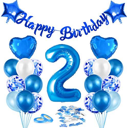 Luftballon 2. Geburtstag Blau, Deko 2. Geburtstag, Geburtstagsdeko 2 Jahr Junge, Riesen Folienballon Zahl 2, Happy Birthday Girlande Folienballon Zahl 2 für Kinder Junge