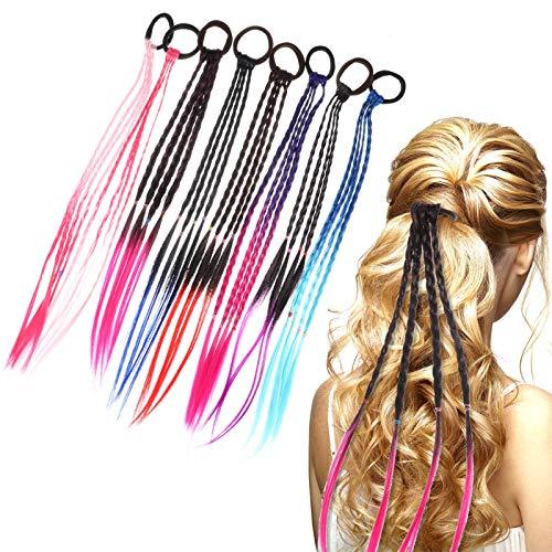 Smilcloud 8 Stück Bunte Haarsträhnen Elastischem Seilband Farbiger Haarsträhnen Kinder für Mädchen Haarschmuck Party Geburtstage Karneval