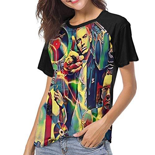 JiHuBoom Womens Eminem T Shirt Black 3D Printed Baseball Short Sleeve