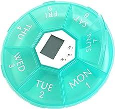Cxjff Pill Box 7 Day Pill Box with LED Light Alarm Medip Lanner (Green)