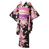 [京のみやび]七五三 女の子着物セット 7才向け四つ身(120cm) 黒 プリンセスローズ
