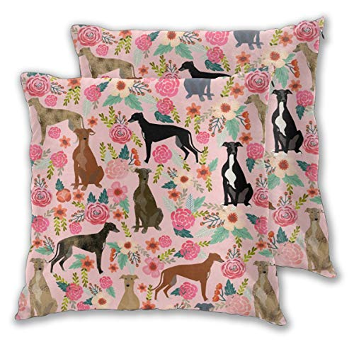 "Greyhound Florals Cute Brindle Cute Dog Best Dogs Vintage Florals Throw Pillow Covers Daily Decoration Sofa Bedroom Car Cushion Cover Zip Square Pillow Cover 18""x 18"" Set of 2"