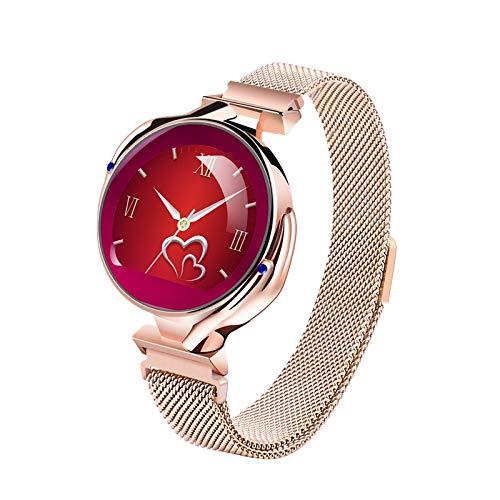Smart Horloge voor Vrouwen, Bluetooth Fitness Tracker met Hartslagmonitor, IP67 Waterdichte Slaapmonitor Stappenteller SMS WhatsApp Call Notification SmartWatch voor IOS & Android, Goud