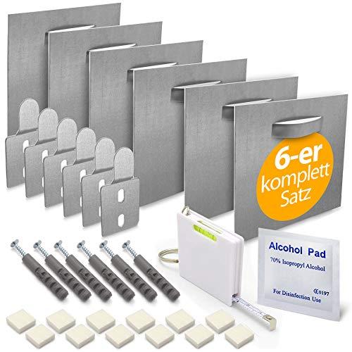 MOISHO® [Juego de 6 unidades] autoadhesivo Dibond de aluminio y cristal acrílico, juego de montaje completo para cuadros y espejos – Soporte de pared de chapa antiadherente