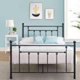VECELO Full Size Bed Frame Metal Platform Mattress Foundation with Headboard Footboard,Victorian Vintage Style,Easy Assemble,Black