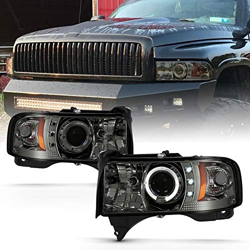 ACANII - For 1994-2001 Dodge Ram 1500 2500 3500 LED Halo Ring Smoked Lens Projector Headlights Headlamps Set Left+Right