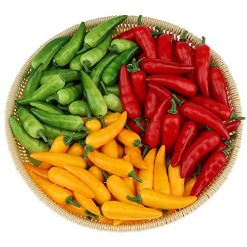 Gresorth 60 Stück Künstliche Lebensechte Mini Pfeffer Chili Deko Gefälschte Gemüse Party Festival Dekoration