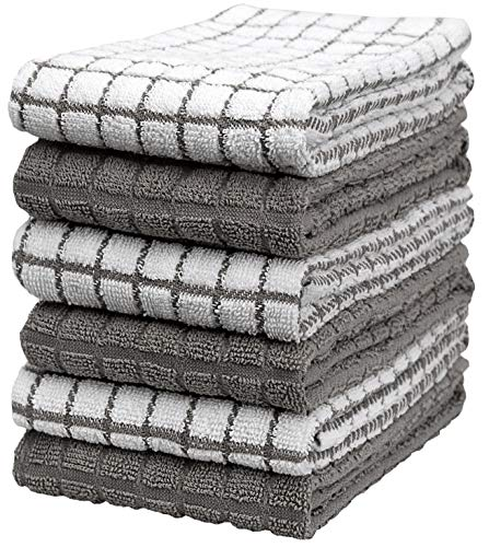 """Premium Kitchen Towels (16""""x 28"""", 6 Pack) – Large Cotton Kitchen Hand Towels – Chef Weave Design – 380 GSM Highly Absorbent Tea Towels Set with Hanging Loop – Grey"""