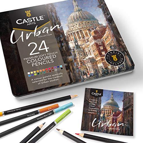 Castle Arts, set di 24 matite colorate, colori perfetti per 'Sketching urbano'. Set di matite da disegno, schizzi, matite da disegno...