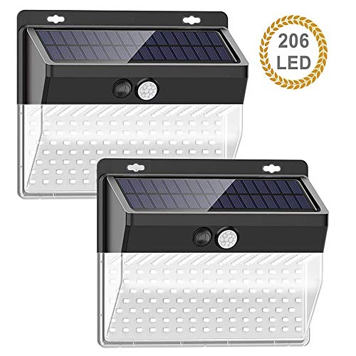 Wandlamp op zonne-energie, 206 led, per 2 stuks, infraroodsensor voor het menselijk lichaam, voor buiten, waterdicht paviljoen, tuin, straatlantaarn 2packs