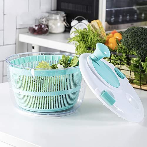 Großer Salatschleuder - Kopfsalat-Trockner, Schnelle Trockene Tätigkeit, Rutschfeste Unterseite, Spülmaschinen-sichere Schüssel Mit Sieb 24.5 * 24.5 * 22CM