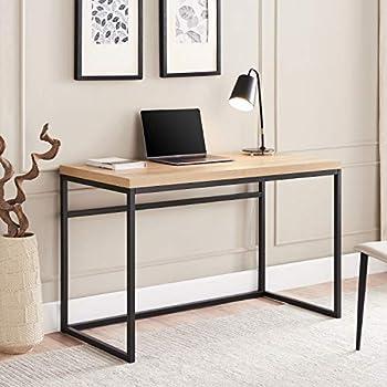 CENSI 47 Inch Modern Wood and Metal Desk/Wooden Writing Computer Desk for Desktop Computer/Medium Home Office Desk with Extra Thick 1.6 /40mm Natural Oak Wood Top Oak