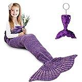 Mermaid Tail Blanket, Amyhomie Mermaid Blanket Adult Mermaid Tail Blanket, Crotchet Kids Mermaid Tail Blanket for Girls (Purple, Kids)