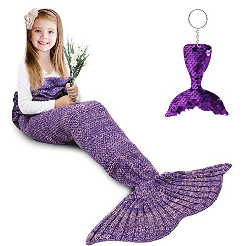 Image of the AmyHomie Mermaid Tail Blanket, Mermaid Blanket Adult Mermaid Tail Blanket, Crotchet Kids Mermaid Tail Blanket for Girls (Purple, Kids)