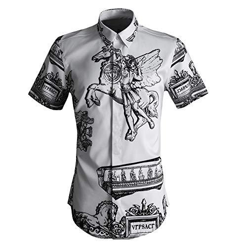 Photo of LIUXING-TUMI Mens 3D Print Summer Short Sleeve Shirt Spread Collar Button Down Dress Shirt Regular Fit Cotton Shirt Work Casual Shirt Blouse Tops Size M L XL XXL 3XL (Color : White, Size : L)