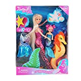 BETTINA Mermaid Princess Doll with Little Mermaid & Seahorse Play Gift Set | Mermaid Toys with Accessories and Doll Clothes for Little Girls (Pink)