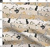 Katzen, Tiere, Mäuse, Kaliko Stoffe - Individuell Bedruckt