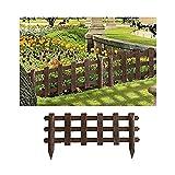 Valla para Jardín Plástico PVC Imitación Madera para Decoración y Proteger los Bordes del Césped, Patio o Jardineras en Tierra 4 Unidades