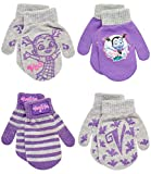 Disney Toddler and Little Girls Minnie Mouse and Vampirina Gloves or Mittens (4 Pack), Size Age 2-4, Vampirina Mittens Purple/Grey